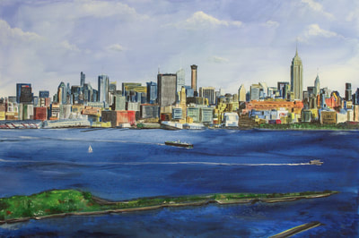 May Kopecky Potential View from New Jersey by May Ling Kopecky Acrylic Painting
