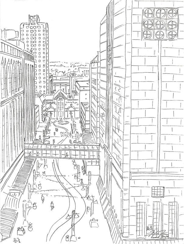 May Kopecky Sketch from the 8th floor of the Mayo Clinic by May Ling Kopecky Ink Drawing