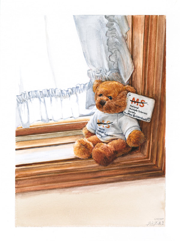 May Kopecky Mini Snickerdoodle by May Ling Kopecky drawing painting watercolor teddy bear MS multiple sclerosis pediatric