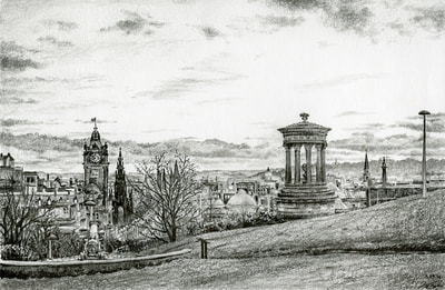 May Kopecky Calton Hill by May Ling Kopecky Graphite ink Drawing