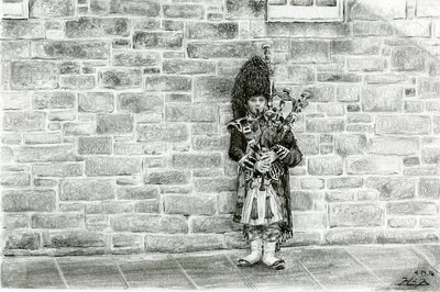 May Kopecky Bagpiper without Tourists by May Ling Kopecky Graphite and Ink drawing